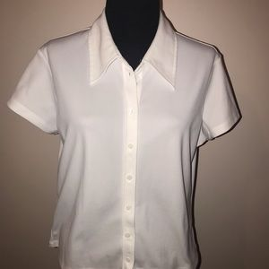 White button down short sleeve Express blouse